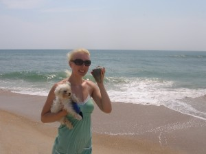 me and the whelk shell i found on the beach